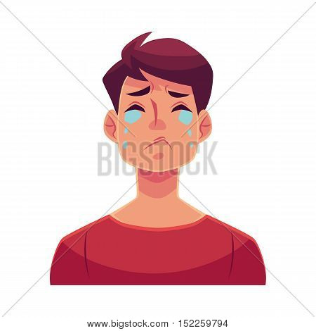 Young man face, crying facial expression, cartoon vector illustrations isolated on white background. Handsome boy emoji crying, shedding tears, sad, heart broken, in grief.