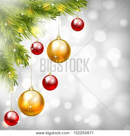 Christmas shiny card with fir tree branch and Christmas baubles