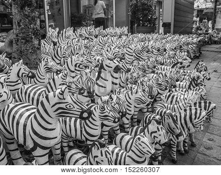 Wood zebras on a market in Bangkok, Thailand