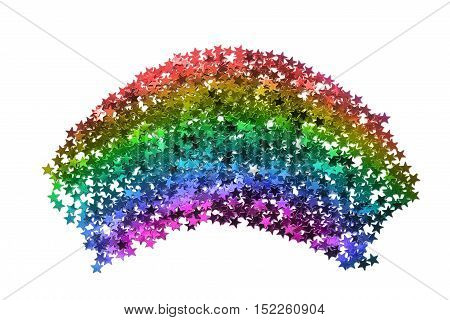 Abstract rainbow colored glitter on white background