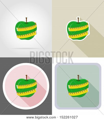 apple and measuring tape flat icons vector illustration isolated on background