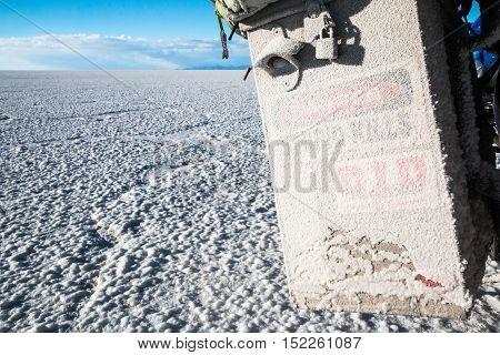 Salt danger for motorcycle in Salar de Uyuni Bolivia