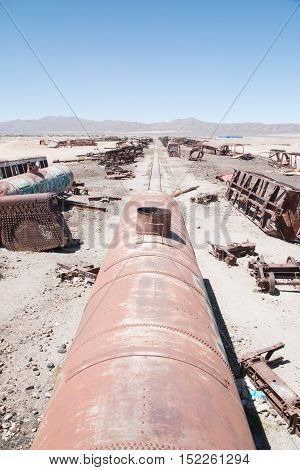 View from the roof to Uyuni train cemetery in Bolivia