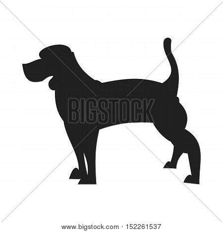 Beagle black silhouette. Character young dog isolated on white background