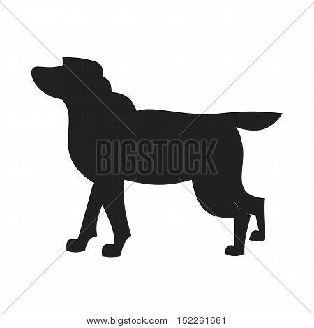Labrador retriever black silhouette. Best friend for people. Vector illustration