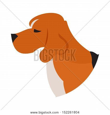 Pedigree dog head beagle. Puppy pet isolated on white background, vector illustration