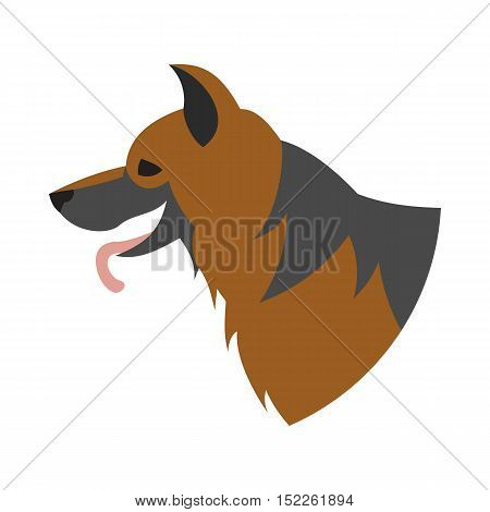 Pedigree dog head german shepherd. Doggy mammal domestic, vector illustration