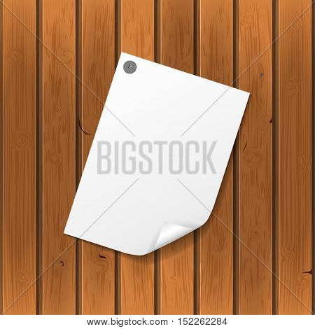 Vector note paper leaf from notebook clipped on wooden wall