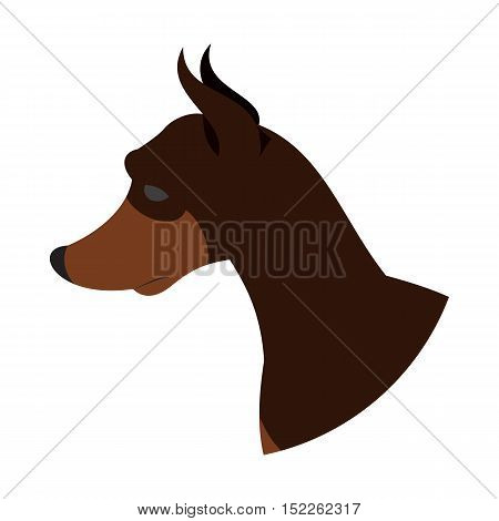 Dog head doberman pinscher. Pet pedigreed beauty, vector flat illustration
