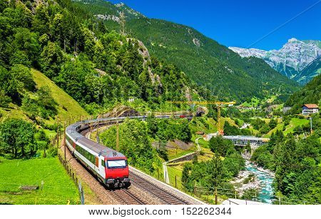 Intercity train at the Gotthard railway. The traffic will be diverted to the Gotthard Base Tunnel in December 2016.