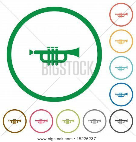 Set of trumpet color round outlined flat icons on white background