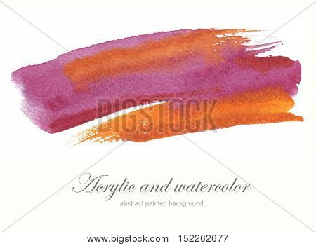 Abstract watercolor brush strokes painted background. Texture paper. Isolated.
