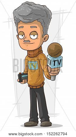 A vector illustration of Cartoon TV journalist with microphone and recorder