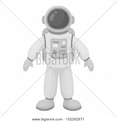 Astronaut icon in monochrome style isolated on white background. Space symbol vector illustration.