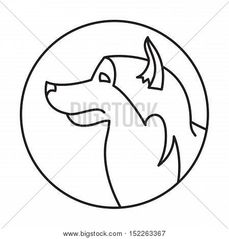 Line head dog alaskan malamute in round. Best friend, vector illustration