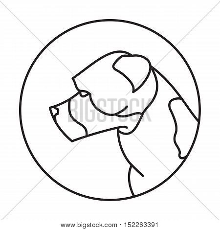 Line head dog american staffordshire terrier. Friendly pedigree pet. Vector illustration