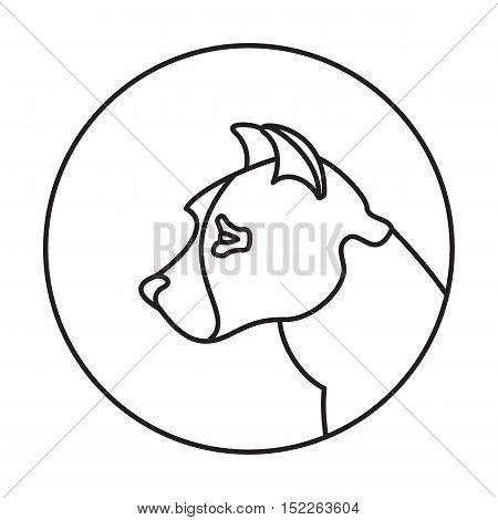 Line head dog in round. American pitt bull terrier, vector illustration
