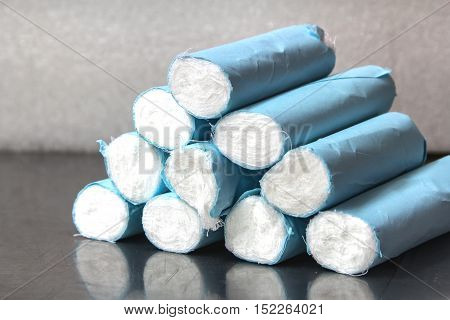 White bandages for patients to emergency incidents.