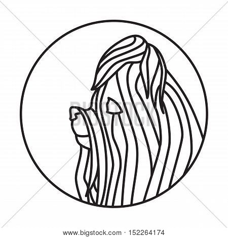 Dog head in a linear style. Yorkshire terrier companion. Vector illustration