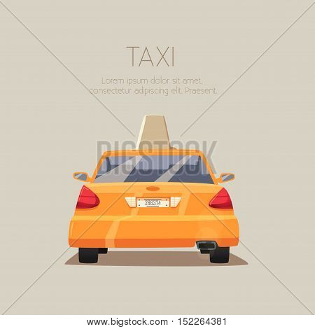 Taxi car. Vector cartoon illustration. Isolated background. American transport. Service. Back view. Modern auto Yellow cab