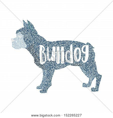 Form of round particles french bulldog design flat. Mammal doggy domestic, vector illustration
