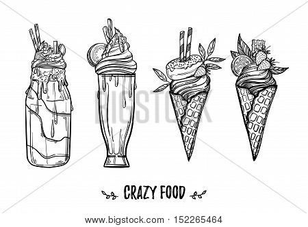 Hand drawn vector illustration - Collection of crazy ice creams and cocktails. Sweet desserts