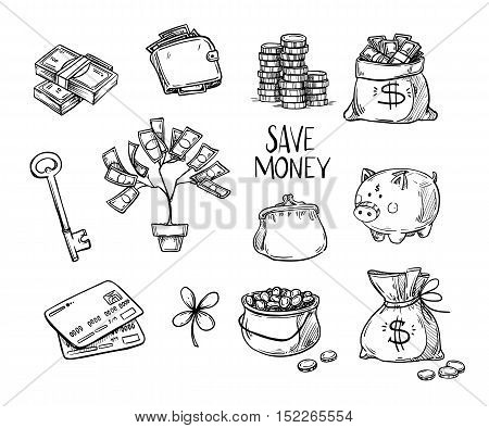 Hand drawn vector illustrations - Save money. Doodle design elements. Money finance payments banks cash etc