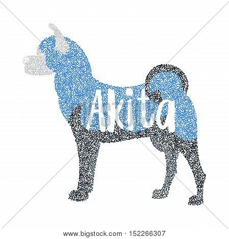 Form of round particles akita breed dog. Hound animal and portrait dog