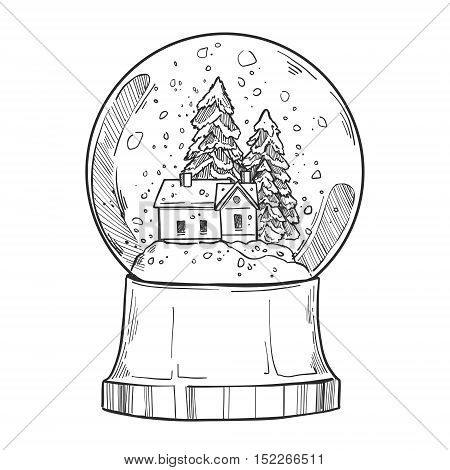 Hand Drawn Vector Illustration - Christmas Snow Globe With A House And Fir-tree Under The Snow. Merr