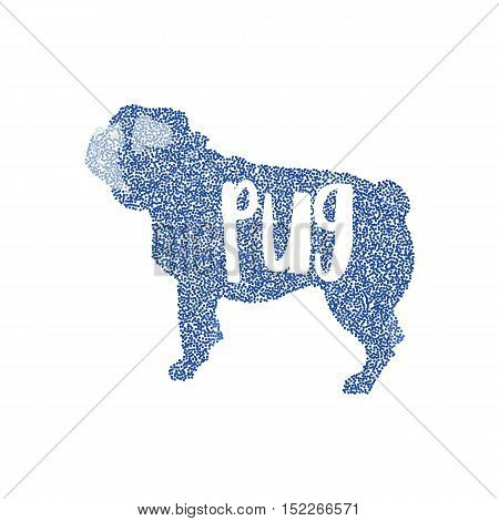 Form of round particles dog flat pug. Mammal friend and friendly dog, vector illustration
