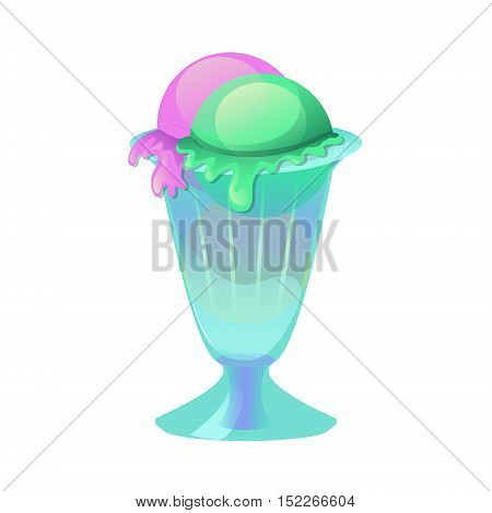 Sundae ice cream balls in a glass cup with blueberry and pistachio. Vector icon isolated on the white background. Perfect design for cafe and restaurant menu recipe poster or cooking book