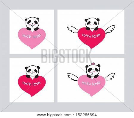 Set of Greeting cards for Valentine's Day, birthday, Mother's Day, wedding with cute panda and heart. Vector.