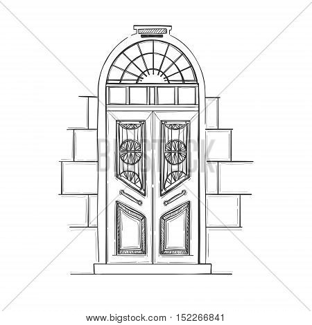 Hand Drawn Vector Illustrations - Old Vintage Door. Isolated On White Background.