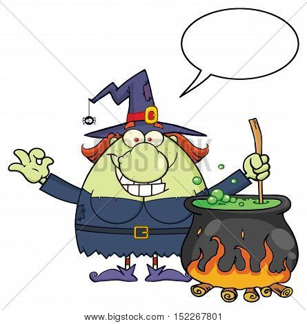Ugly Halloween Witch Cartoon Mascot Character Preparing A Potion In A Cauldron With Blank Speech Bubble. Illustration Isolated On White Background