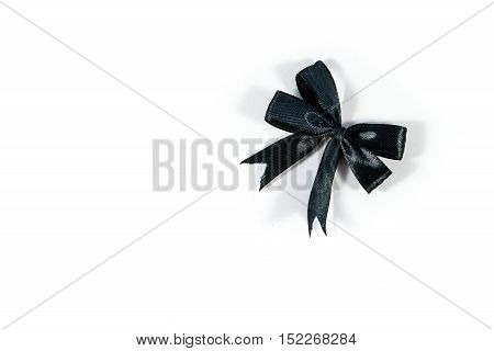 Single Black Bow isolated on white background.