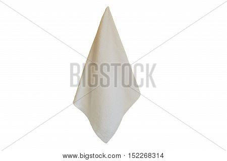 White Spa towel hanging isolated on white background.