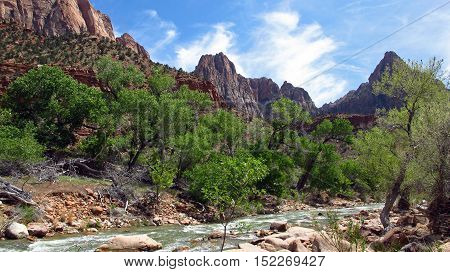View of the Virgin River bordered by mountains with colorful rocks and wild nature. Photo taken inside the Zion Park in Utah, USA. Light, natural colors.