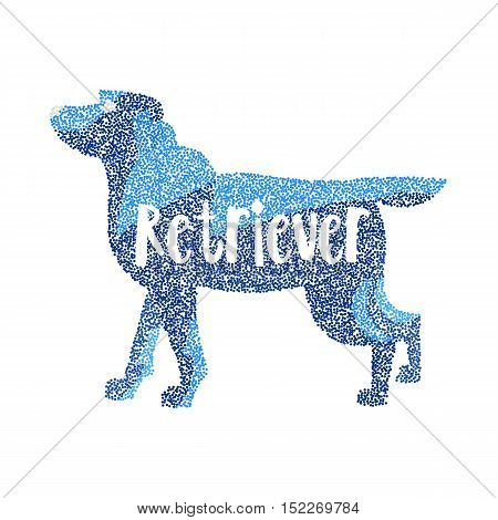 Form of round particles labrador retriever dog breed. Pet friend and doggy animal, vector illustration