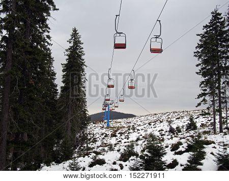 Slopes of ukrainian ski resort Dragobrat, 1400 above sea-level in October