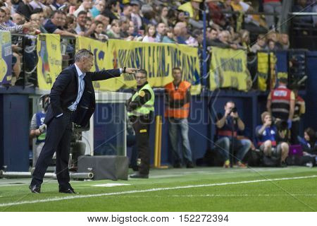 VILLARREAL, SPAIN - OCTOBER 16th: Villarreal Coach Fran Escriba during La Liga soccer match between Villarreal CF and R.C. Celta de Vigo at El Madrigal Stadium on October 16, 2016 in Villarreal, Spain