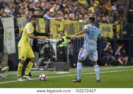VILLARREAL, SPAIN - OCTOBER 16th: Mario with ball during La Liga soccer match between Villarreal CF and R.C. Celta de Vigo at El Madrigal Stadium on October 16, 2016 in Villarreal, Spain