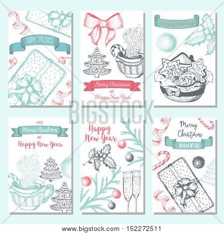 Christmas hand drawn card set. Vector illustration. Xmas banner collection. Linear graphic. Design template for New Year and Christmas.