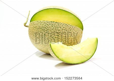 Melon slices isolated on a white background