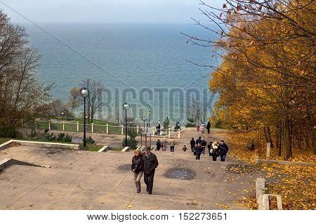 RUSSIA SVETLOGORSK - SEPTEMBER 11 2014: Autumn in Svetlogorsk (Rauschen). Svetlogorsk is a coastal resort town of Kaliningrad Oblast Russia located on the coast of the Baltic Sea on the Sambia Peninsula.