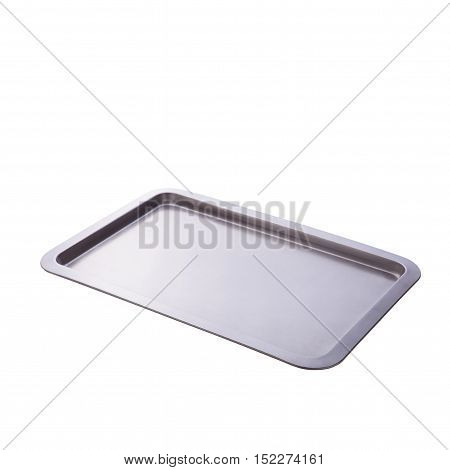 Empty baking tray close up isolated on white
