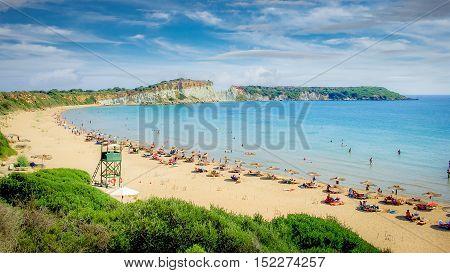 Gerakas beach on Zakynthos Island, Greece. It is a protected area of Caretta Caretta turtle nesting site.