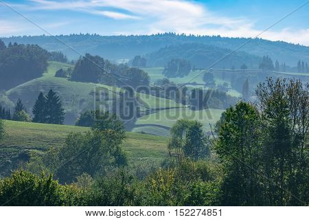 Foggy hilly late summer landscape with green meadows and forest in the background