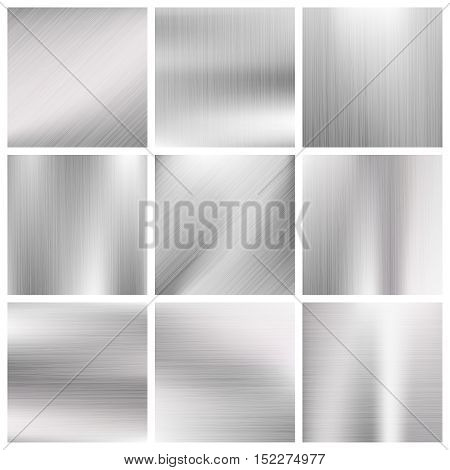 Silver, steel, titanium, aluminium metal vector brushed textures. Metallic surface material illustration