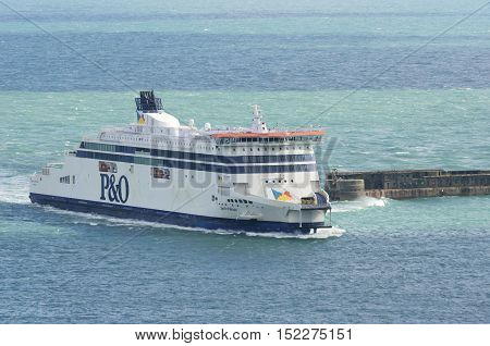 Dover United Kingdom - October 1 2016: P&O cross channel Ferry