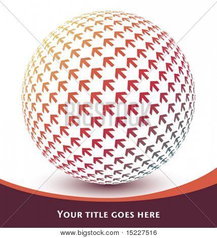 Digital arrow globe vector.